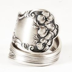 Sterling Silver Floral Pansy Spoon Ring Pattern by by Spoonier, $58.00