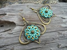 Indian turquoise earrings flowers