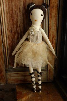 Handmade Rag Dolls by Gaiia Kim, One-of-a-Kind Cloth Doll, Ballerina No 60