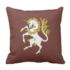 Unicorn Rampant Throw Pillow