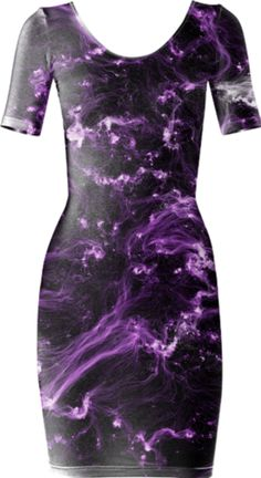 Neon Flame Amethyst Short Sleeved Bodycon Dress - Available Here: http://printallover.me/products/0000000p-neon-flame-amethyst-1