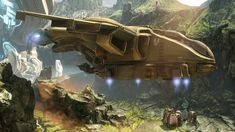 The Pelican dropship is the UNSC's most recognizable troop and materiel transport and is a common sight on every human colony. Halo Pelican, Halo Master Chief, Halo Series, Halo Game, Flying Vehicles, Pokemon, Sci Fi Ships, Aircraft Design, Starcraft