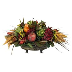 Bring rustic style to your tablescape or mantel with this lovely arrangement, showcasing faux florals with pomegranate and artichoke accents in a footed pot....