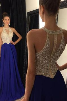 2018 Sexy Chiffon Scoop-Neck A Line Prom Kleider Reißverschluss Up Beaded Mieder Royal Blue Prom Dresses, Elegant Bridesmaid Dresses, A Line Prom Dresses, Dance Dresses, Sexy Dresses, Girls Dresses, Formal Dresses, Prom Gowns, Dress Prom