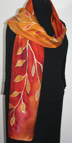 Hand Painted Silk Scarf Autumn Gold. Silk by SilkScarvesColorado