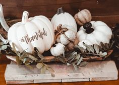Check out our pick of creative pumpkin decorating ideas! We have a whole variety of beautiful and spooky Halloween pumpkin decorations. Thanksgiving Decorations, Halloween Decorations, Christmas Decorations, Table Decorations, Thanksgiving Feast, Thanksgiving Crafts, White Pumpkins, Fall Pumpkins, Painted Pumpkins