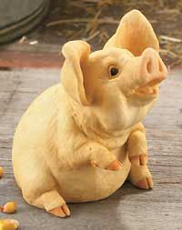 6598462515: Poppycock Small Pig Sculpture