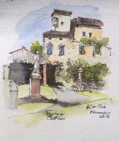 Chateau Montgey Online Tutorials, Pen And Watercolor, Teaching Art, France, Artist, Painting, Artists, Painting Art, Paintings