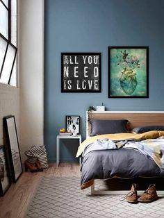 Azul+cinza=quarto calmo!