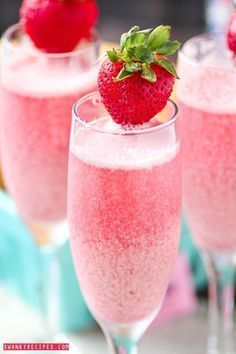 Bubbly champagne with frozen strawberry and raspberry cream ice cubes. Serve for brunch, breakfast, holidays or girl\\\'s night out.