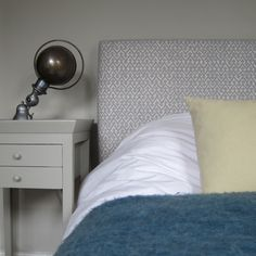 Upholstered headboard in the gorgeous Fermoie Rabanna fabric. Closet Bedroom, Bedroom Curtains, Bedroom Colors, Bedroom Ideas, Dresser As Nightstand, Girl Room, Fabric Patterns, Home Furnishings, Interior