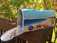 Seascape Beach mailbox Hand Painted Mailbox | Etsy