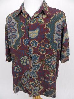 Reyn Spooner Hawaiian Shirt XL Floral Watercolor Retro Wool Tribal Aloha Camp #ReynSpooner #Hawaiian