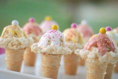 Rice Krispies Treats Ice Cream scoops on kid size cones.