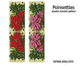 Christmas Poinsettias - Peyote Bracelet Pattern
