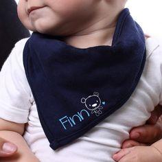 Blaues Bandana für Babys mit Namensaufdruck #Halstuch