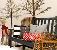 Nice mix of comfy holiday inspired pillows.