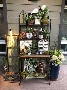 Bakers Rack Decorating, Deck Decorating, Interior Decorating, Outdoor Rooms, Outdoor Gardens, Outdoor Living, Outdoor Decor, Outdoor Bakers Rack, Home Porch