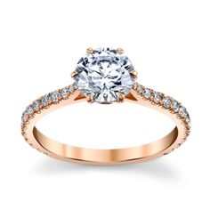 18k Rose Gold Diamond Engagement Ring Setting 1/3 cttw by Danhov