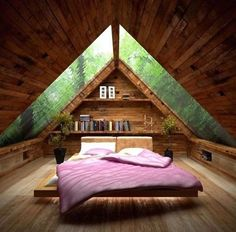 Image 34 of 40 from gallery of Cozy Small Attic Bedroom Design and Decorating Ideas. Amusing small attic bed room idea with ceiling design idea plus glass roof also pink bed for wooden floor Attic Bedroom Designs, Attic Bedrooms, Bedroom Ideas, Bedroom Decor, Bedroom Loft, Bedroom Closets, Bedroom Small, Small Rooms, Master Bedroom