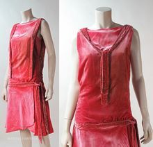 1920's Art Deco Beaded Coral Silk Velvet Dress