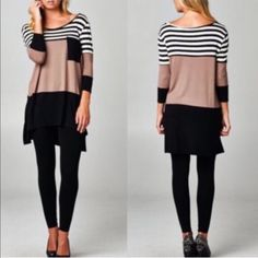 CHARLESTON striped tunic top - TAUPE Super comfy & chic striped color block tunic top. NO TRADE, PRICE FIRM Tops