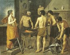 """1954 Vintage Full Color Art Plate /""""APOLLO AT THE FORGE OF VULCAN/"""" by Velazquez"""