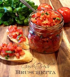 Garden Fresh Bruschetta! One of my favorite summer recipes! Simple, easy and perfect paired with a bottle of wine and a loaf of bread on the deck!