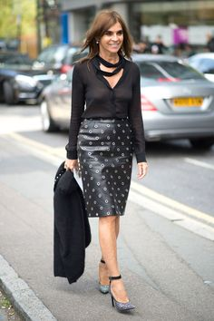 Carine Roitfeld - love the leather skirt and glitzy pumps.