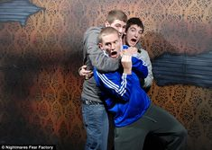 HILARIOUS PHOTOS: strategically placed hidden cameras around the scariest parts of Niagra Fall's Nightmares Fear Factory (haunted house).