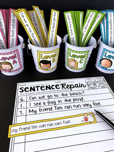 Sentence Editing Literacy Center Sentence Editing Literacy Center Julie Ann peacenpositive Special Education This workshop has students edit and correct the errors in the […] or kindergarten which is correct spelling Kindergarten Writing, Teaching Writing, Writing Activities, Writing Skills, Teaching English, Grammar Activities, English Grammar, Literacy Stations, Literacy Centers