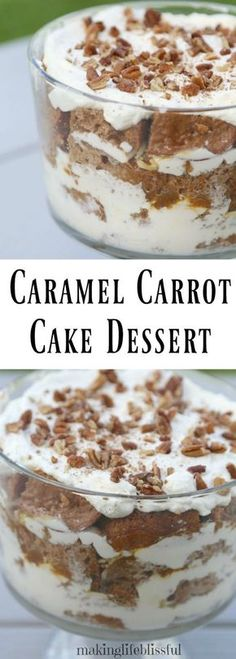 This Caramel Carrot Cake Trifle is an easy dessert. It is rich and creamy with the caramel and pecans! A easy carrot cake dessert to wow your friends. So EASY! Trifle Dish, Köstliche Desserts, Dessert Recipes, Fruit Recipes, Recipies, Easy Cake Recipes, Pumpkin Recipes, Sweet Recipes, Easy Carrot Cake