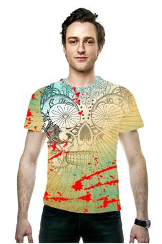 By Phyllis Braham, OArtTee specializes in creating amazing, vibrant and colorful Wearable Art - A grunge look tattoo skull graphic, such a cool designer fashion tee shirt top for men.