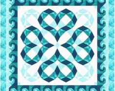 Quilt Pattern / Storm at Sea variation / Heartwaves in Aqua - King Size: 100 x 100