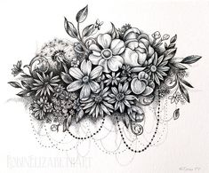 Dotwork Flower Cloud Pen and Ink Stippling by RobinElizabethArt