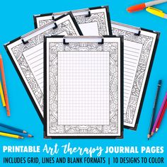 Find the perfect printable journal page for your journaling style! 4 formats included for each coloring journal: grid, small lines, big lines, and blank.