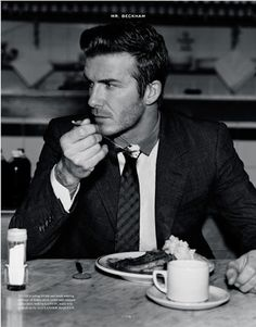 (Beckham) I just love thus photo. Classy guy, eating pie!