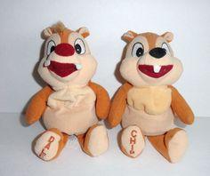 "Disney Store CHIP & DALE Plush CHIPMUNKS Doll Set Lot 7"" Bean Bag Toys #Disney"