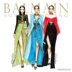 Balmain Spring Summer illustration by swidyaningtiyas