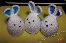 Horgolt nyuszis tojástakaró - Kreatív+Hobby Alkotóműhely Happy Easter, Christmas Ornaments, Sewing, Holiday Decor, Kids, Stuff Stuff, Amigurumi, Happy Easter Day, Toddlers