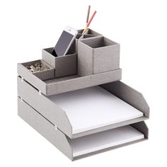 Keep all of your desk accessories corralled with our Stockholm Desktop Organizer. Diy Stationery Organizer, Stationary Organization, Diy Organisation, Desktop Organization, Diy Crafts Desk, Craft Desk, Diy Desk, Cool Office Space, Make Up Organiser