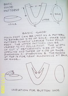 This is a pattern for American Girl Doll shoes, but it shoes me how I could draft a pattern for shoes for other sizes and shapes of dolls. This image is part of a whole album of American Girl Doll shoes. Doll Shoe Patterns, Doll Patterns Free, Baby Shoes Pattern, Sewing Patterns, American Girl Doll Shoes, American Girl Accessories, American Girl Clothes, Barbie Et Ken, Boy Doll Clothes