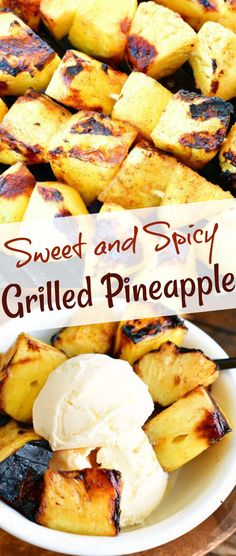Beautiful grilled pineapple with sweet and spicy sugar coating perfect to add to summer desserts or as a sweet side. Sweet and juicy pineapple is so good when it's coated in brown sugar, cinnamon, lime juice, and cayenne pepper mixture and grilled.#pineapple #grilled #summerdessert #fruit #sidedish