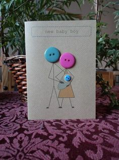 New baby card made with buttons and brown Kraft card от butt.- New baby card made with buttons and brown Kraft card от buttonbaps New baby card made with buttons and brown Kraft card от buttonbaps - Cute Cards, Diy Cards, Tarjetas Diy, Button Cards, New Baby Cards, Baby Shower Cards, Baby Crafts, Creative Cards, Homemade Cards