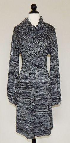 CALVIN KLEIN Black White Marled Knit Cowl Neck Drawstring Waist Sweater Dress XL #CalvinKlein #SweaterDress #Casual