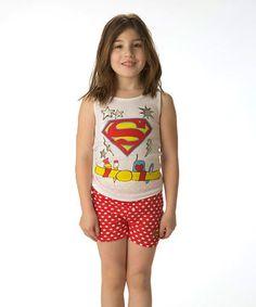 Look what I found on #zulily! White & Red Supergirl Tank & Shorts - Girls #zulilyfinds