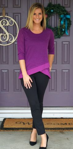 Stitch Fix Stylist: I love this color! I love tops that can be seen as both sweater or long sleeve top. Stitch Fix December 2015 - Skies are Blue Kendruh Layered Hem Knit Top. Fix Clothing, For Elise, Stitch Fix Outfits, Stitch Fix Stylist, Work Attire, What To Wear, Style Me, Cute Outfits, Style Inspiration
