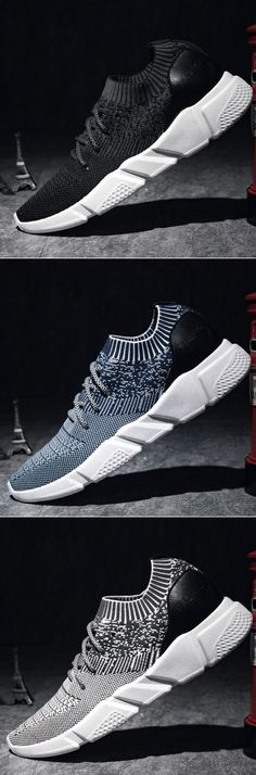Men Strech Flyknit Fabric Breathable Light Running Shoes Sport Casual Sneakers