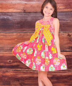 Look at this #zulilyfind! Fuchsia Bow Fiorito Dress - Infant by Jelly the Pug #zulilyfinds