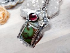 Large Handmade Sterling Pendant Necklace with Stones,Chrysoprasse Pendant,Tourmaline Pendant,Unique Stone Necklace,Artisan Jewelry,For Her This beautiful Sterling Silver pendant was bezel set with a large rectangle Chrysoprasse, a free form Tourmaline and a small eye shaped Moonstone. It was Handmade Jewelry Designs, Handmade Necklaces, Jewelry For Her, Heart Jewelry, Stone Necklace, Pendant Necklace, Tourmaline Stone, Artisan Jewelry, Sterling Silver Pendants